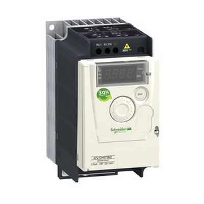 Schneider Electric Frequenzumrichter =< 1 kV Frequenzumrichter ATV12, 0,75kW, 1HP, 200-240V, 1-ph., m. Kühlkörper