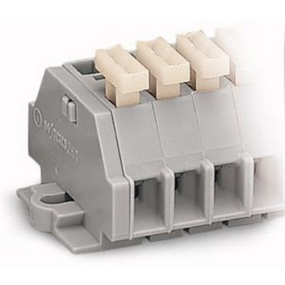 WAGO Ein- und mehrpolige Klemmenleiste Serie 261 2-conductor terminal strip with push-buttons on one side with fixing f