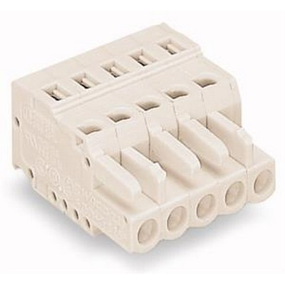 WAGO Kabelsteckverbinder für Leiterplattensteckverbinder Series 721 Female connector 2-pole Pin spacing 5 mm / 0.197 in light gray