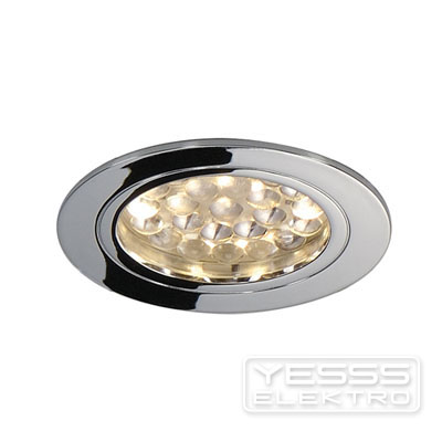 YESSS Light Downlight Deckeneinbauleuchte, DL 123 LED, rund, chrom, 24LED, 3000K